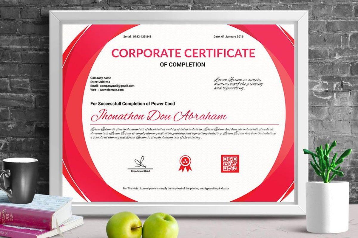 Corporate Certificate of Completion Template, 08769, Business — PoweredTemplate.com
