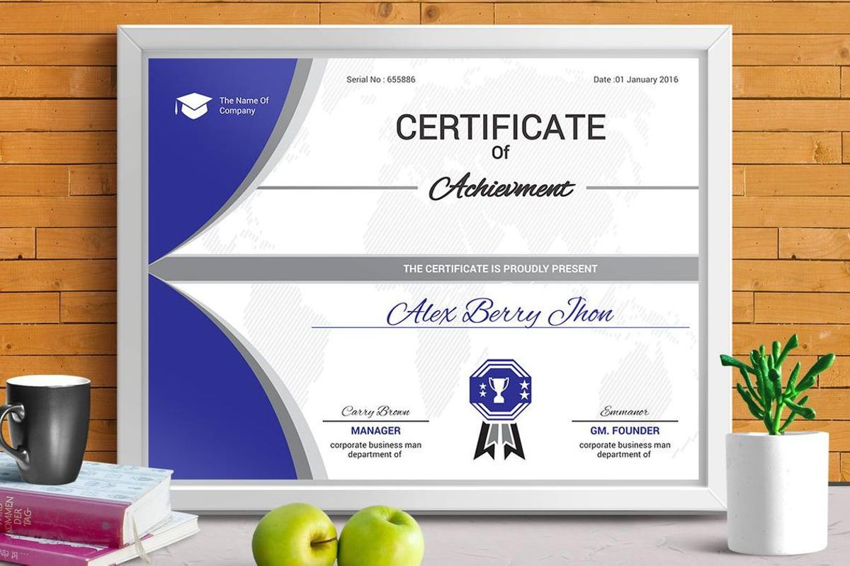 Certificate of Achievement with Badge Template, 08770, Business — PoweredTemplate.com