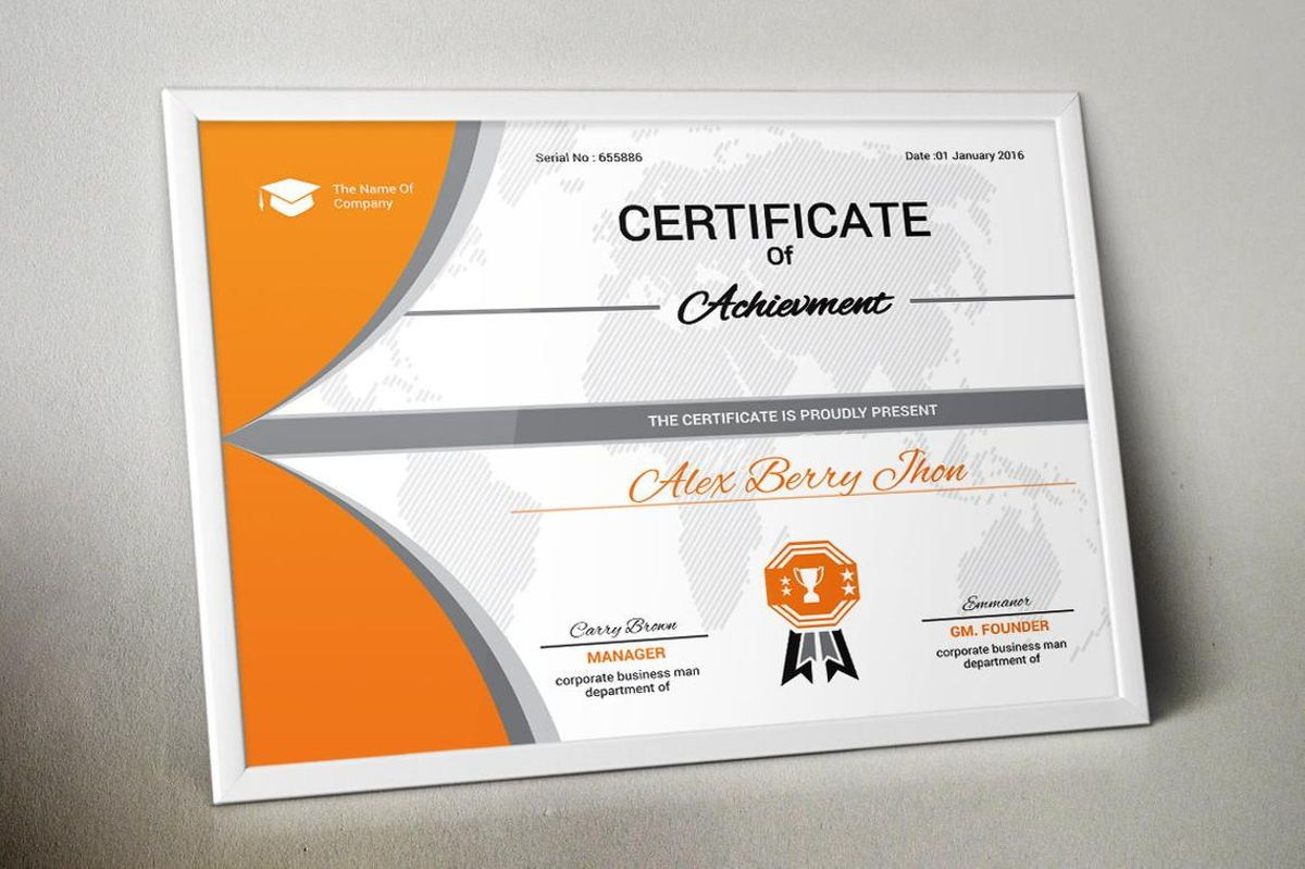 Certificate of Achievement with Badge Template, Slide 3, 08770, Business — PoweredTemplate.com