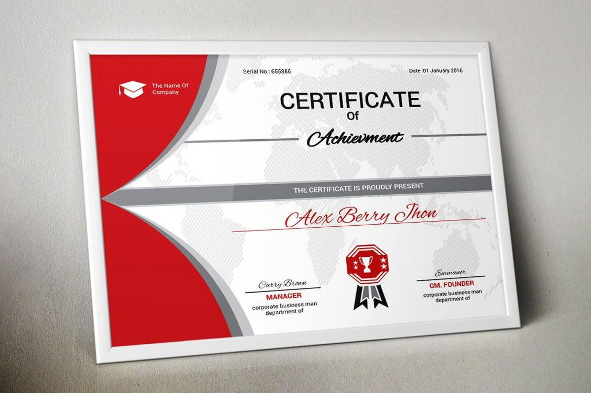 Certificate of Achievement with Badge Template, Slide 5, 08770, Business — PoweredTemplate.com