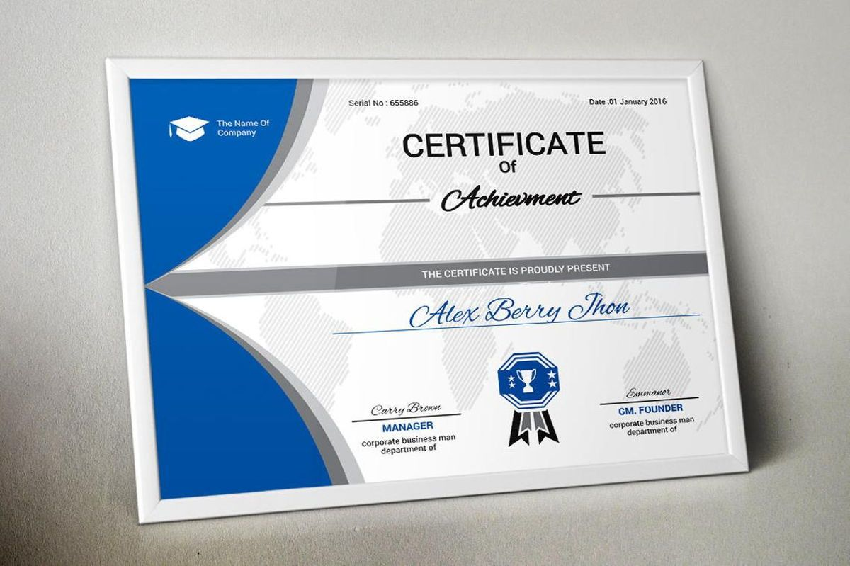 Certificate of Achievement with Badge Template, Slide 6, 08770, Business — PoweredTemplate.com