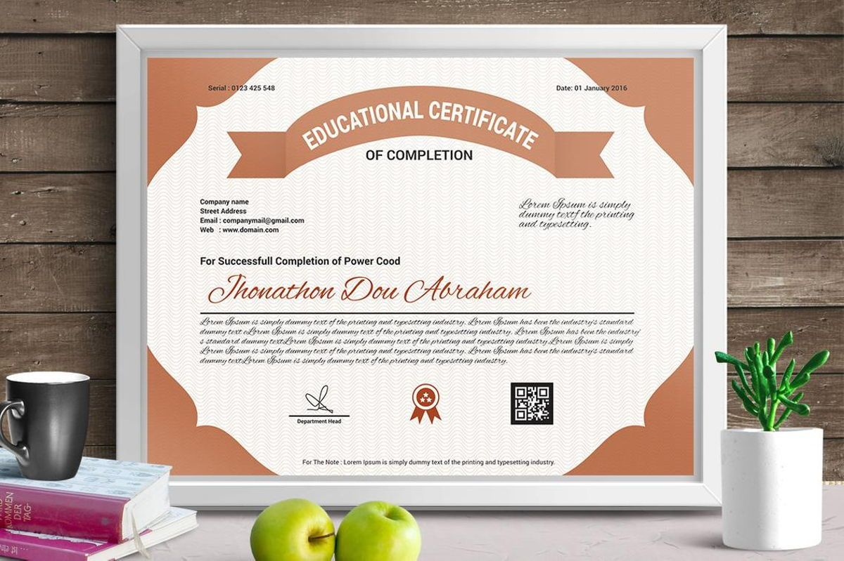 Education Certificate of Completion, 08774, Business — PoweredTemplate.com