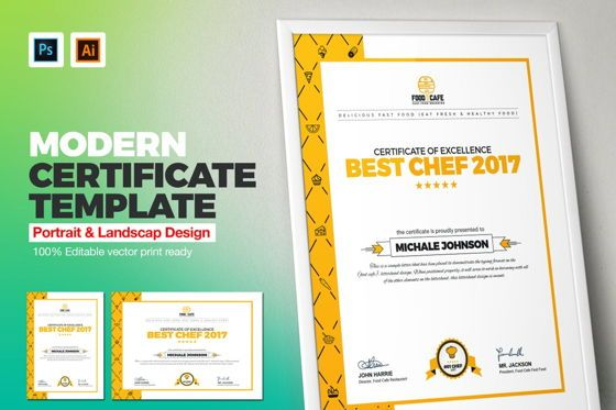 Business: Certificate of Excellence Template #08778