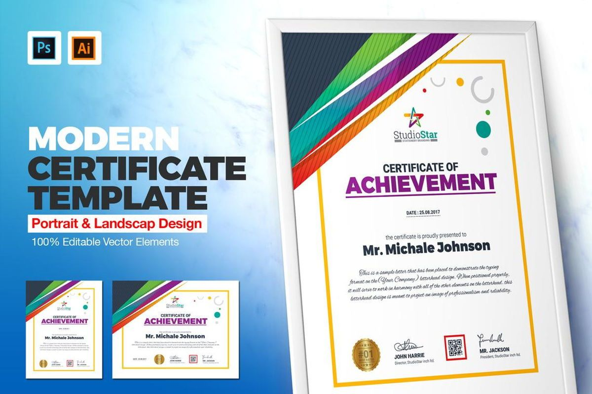 Certificate Template with Colorful Pattern, 08780, Business — PoweredTemplate.com