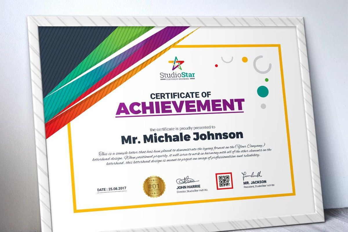 Certificate Template with Colorful Pattern, Slide 2, 08780, Business — PoweredTemplate.com