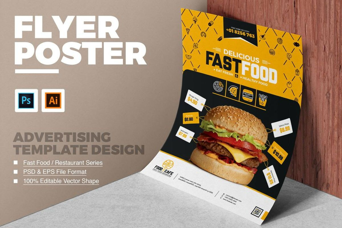 FoodCafe - Fast Food and Restaurant Flyer Template, 08784, Food & Beverage — PoweredTemplate.com