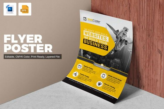 Business: WebCoder - Web Design and Development Agency Flyer Template #08786