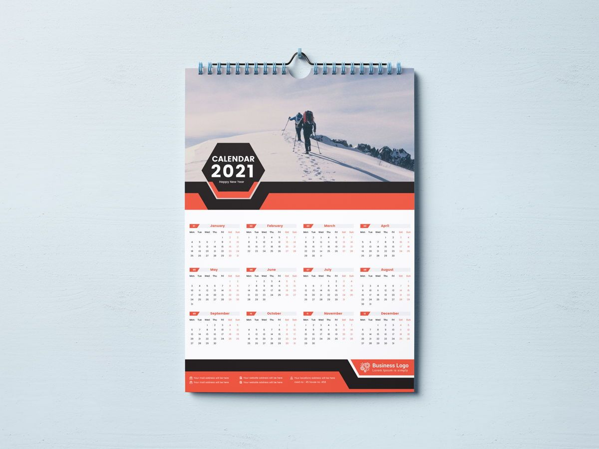One Page Wall Calendar 2021, 08787, Business — PoweredTemplate.com