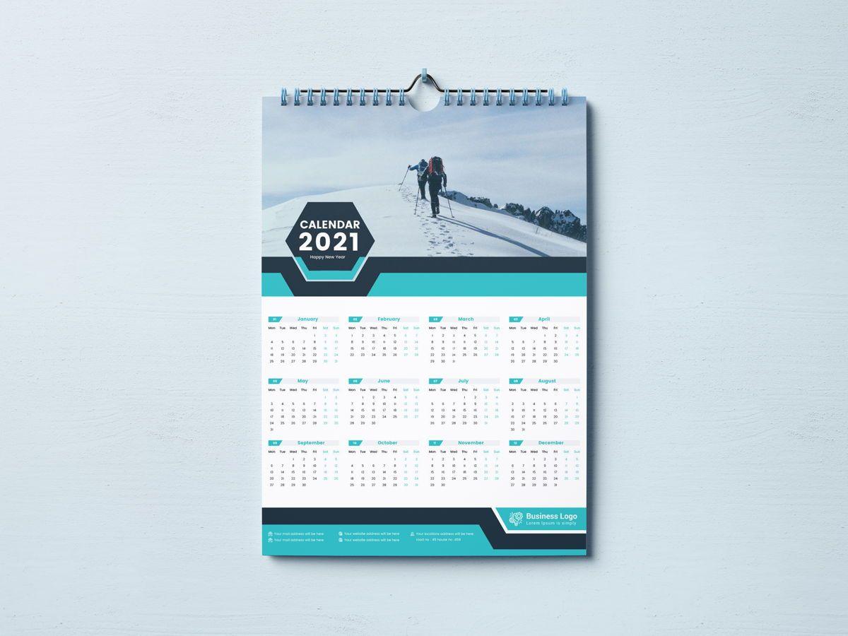 One Page Wall Calendar 2021, Slide 2, 08787, Business — PoweredTemplate.com