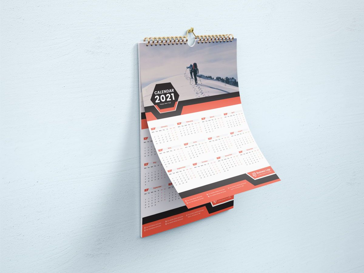 One Page Wall Calendar 2021, Slide 3, 08787, Business — PoweredTemplate.com