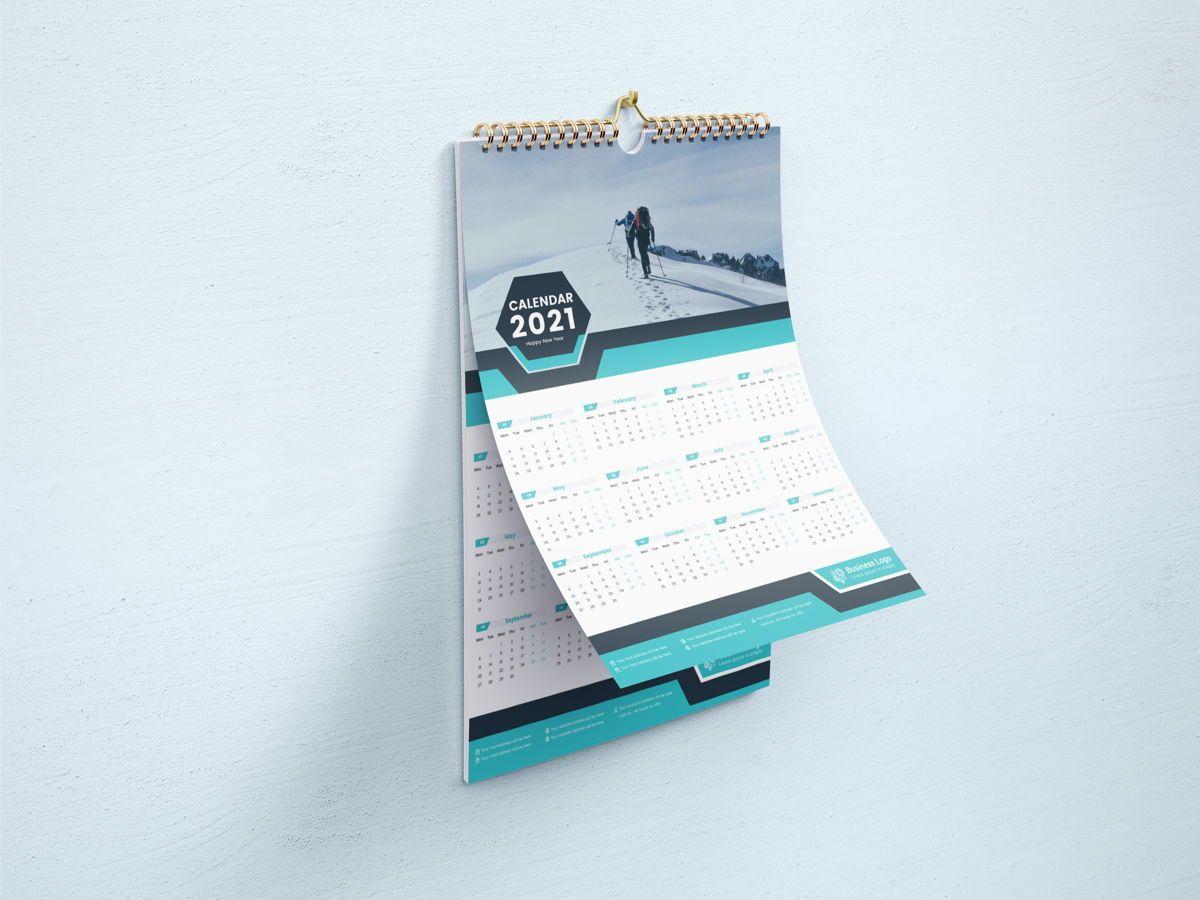 One Page Wall Calendar 2021, Slide 4, 08787, Business — PoweredTemplate.com