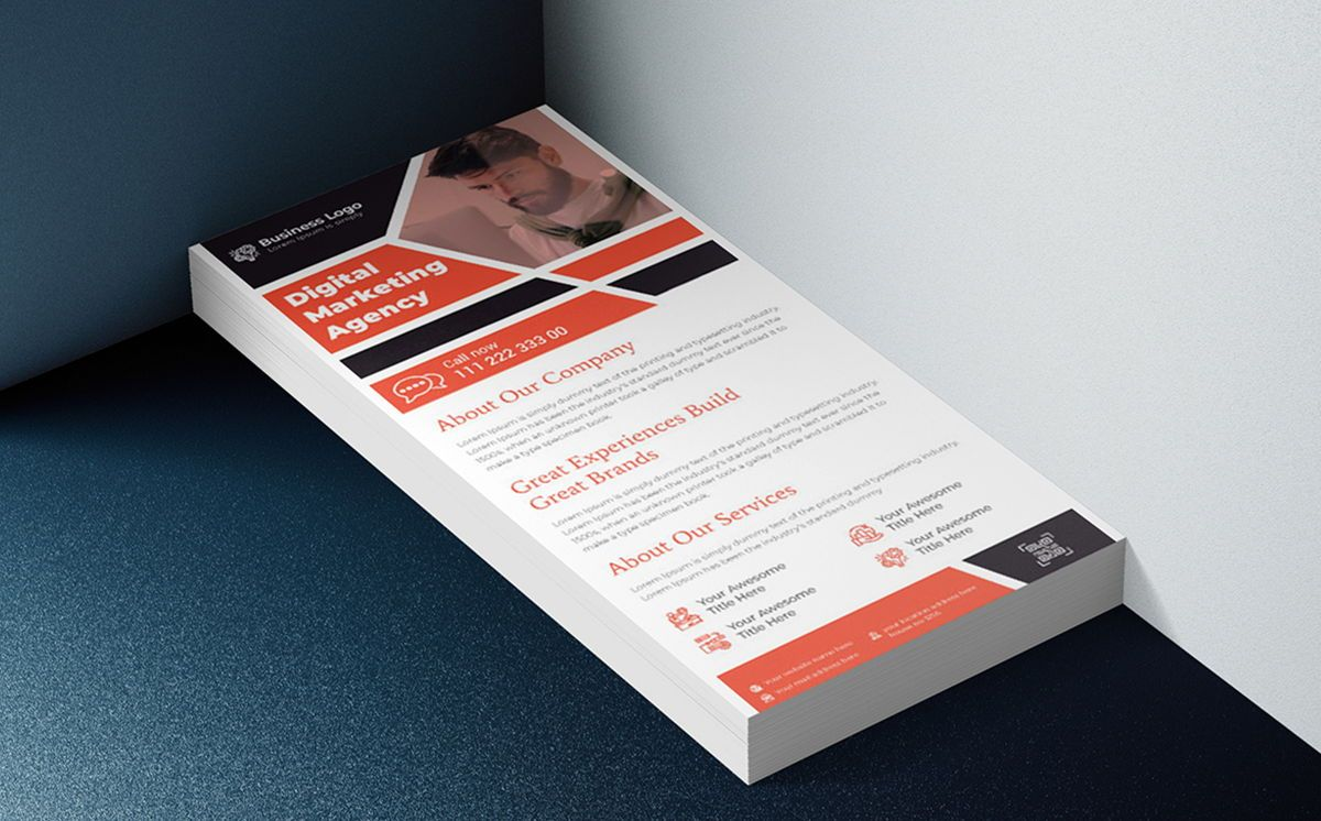 Digital Marketing DL Rack Card Or Dl Flyer Template, 08788, Business — PoweredTemplate.com