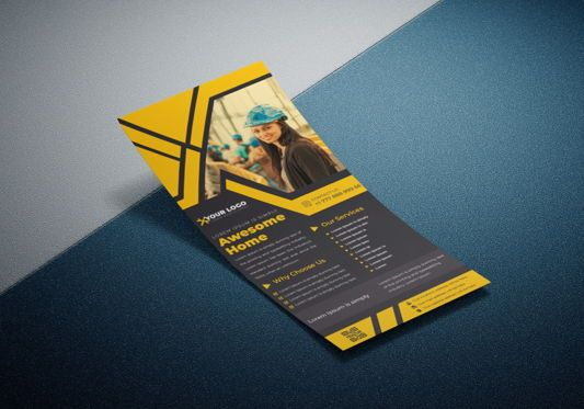 Business: Industrial commercial construction Rack Card Or Dl Flyer template #08791