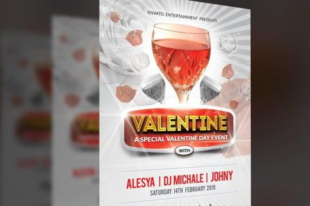 Holiday/Special Occasion: Valentine Day Party Flyer PSD Template #08795