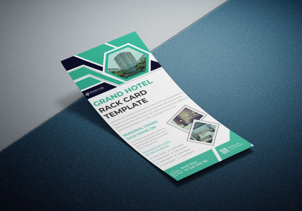 Grand hotel advertising rack card template or Dl Flyer template design, 08798, ビジネス — PoweredTemplate.com