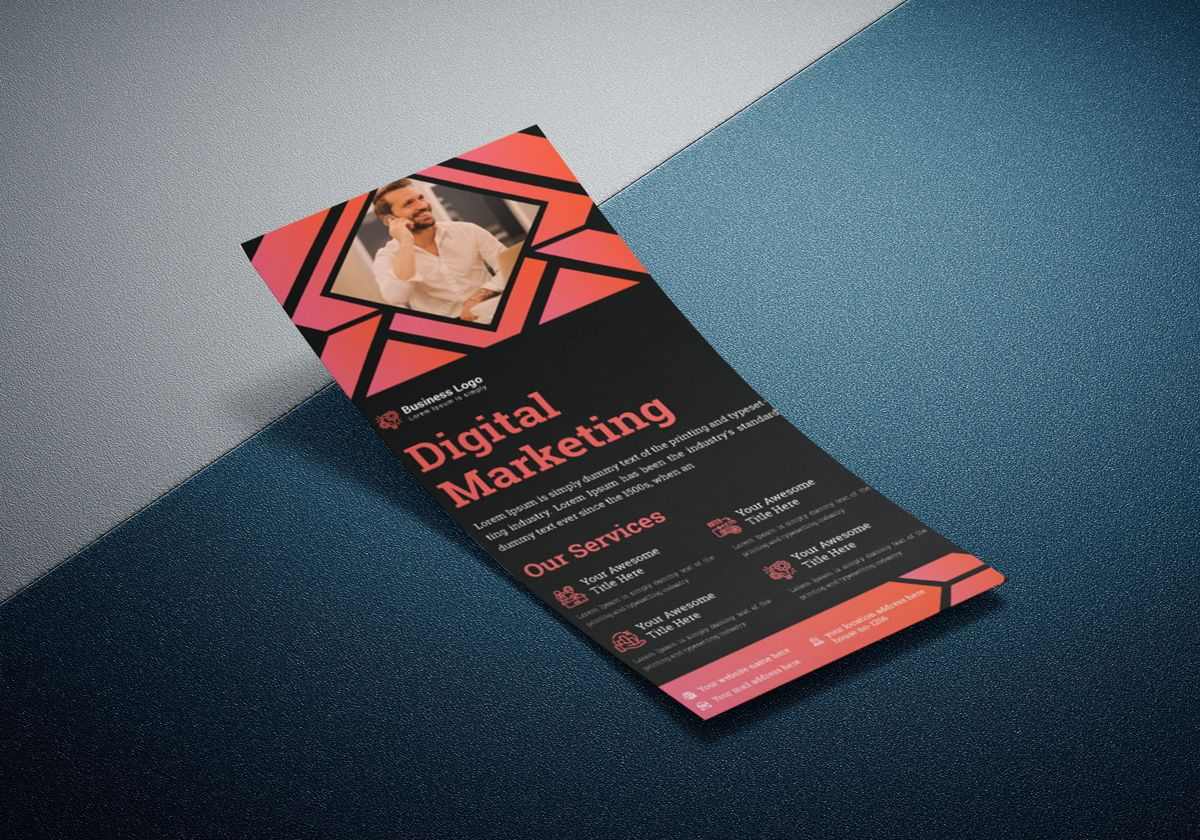 Marketing Consultant Agency promotional services Rack Card Or Dl Flyer Template, Slide 2, 08799, Business — PoweredTemplate.com
