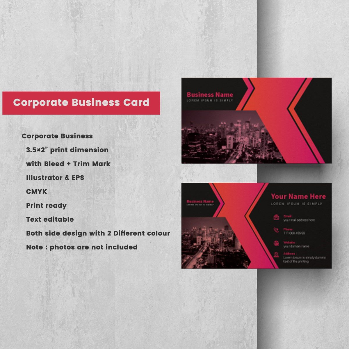 Creative Corporate Professional Business Card Template, 08802, America — PoweredTemplate.com