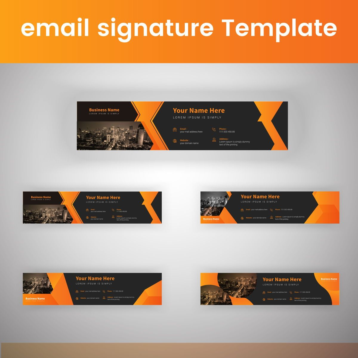 Corporate Professional Business Email Signature Templates Bundle, 08803, Abstract/Textures — PoweredTemplate.com