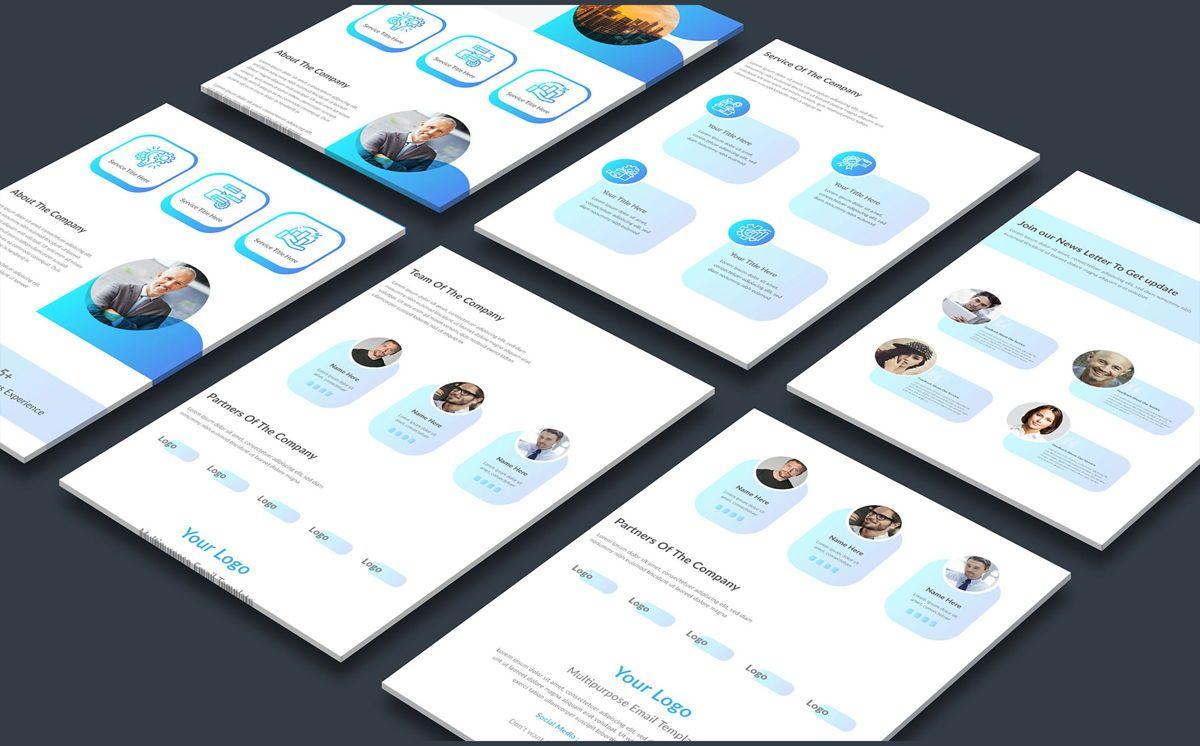 latest creative multipurpose business email newsletter template, 08804, Abstrato/Texturas — PoweredTemplate.com