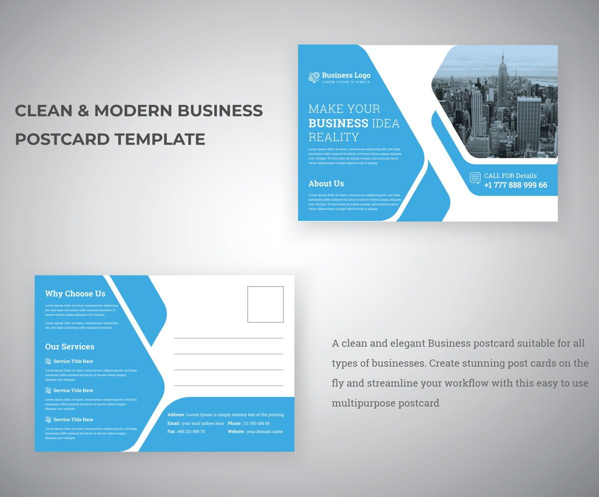 Clean Corporate Industrial Postcard Template for Business Service promotion, 08809, 추상/직물 — PoweredTemplate.com