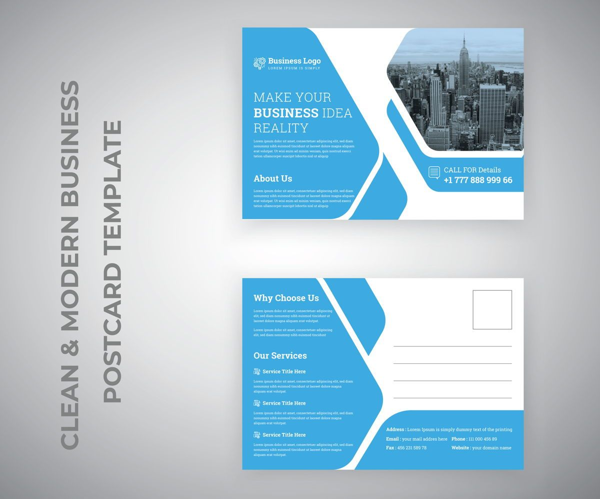 Clean Corporate Industrial Postcard Template for Business Service promotion, 슬라이드 2, 08809, 추상/직물 — PoweredTemplate.com
