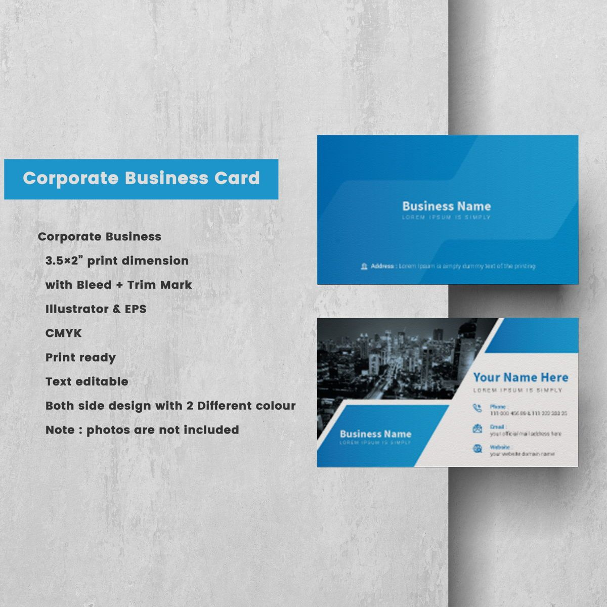 Creative Corporate Professional Personal Business Card Template, Dia 2, 08811, Abstract/Textuur — PoweredTemplate.com