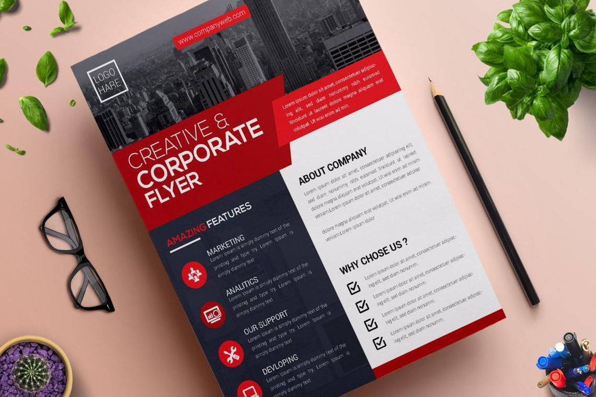 Corporate Business Flyer Design Template Vol 05, 08814, Business — PoweredTemplate.com