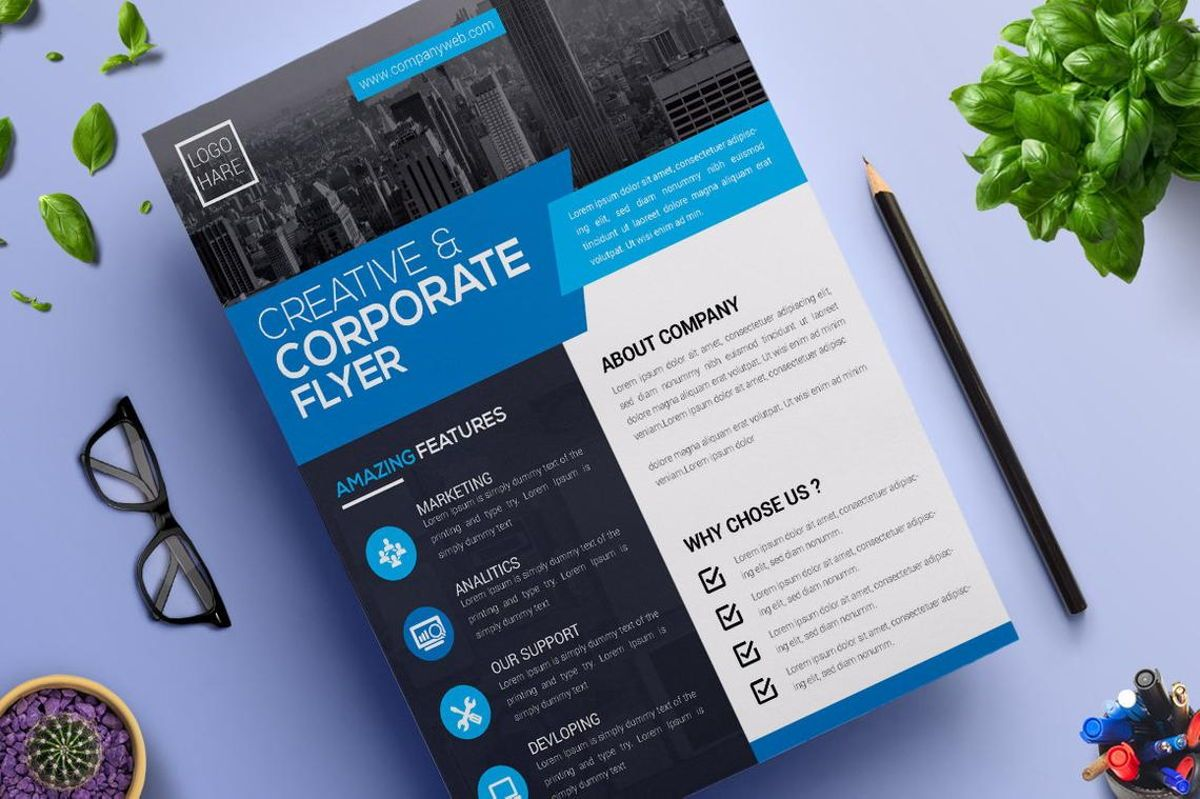 Corporate Business Flyer Design Template Vol 05, Slide 2, 08814, Business — PoweredTemplate.com