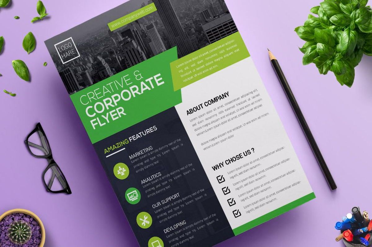 Corporate Business Flyer Design Template Vol 05, Diapositive 4, 08814, Business — PoweredTemplate.com