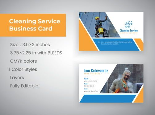 Abstract/Textures: cleaning service Marketing material Design Business Card Template #08818