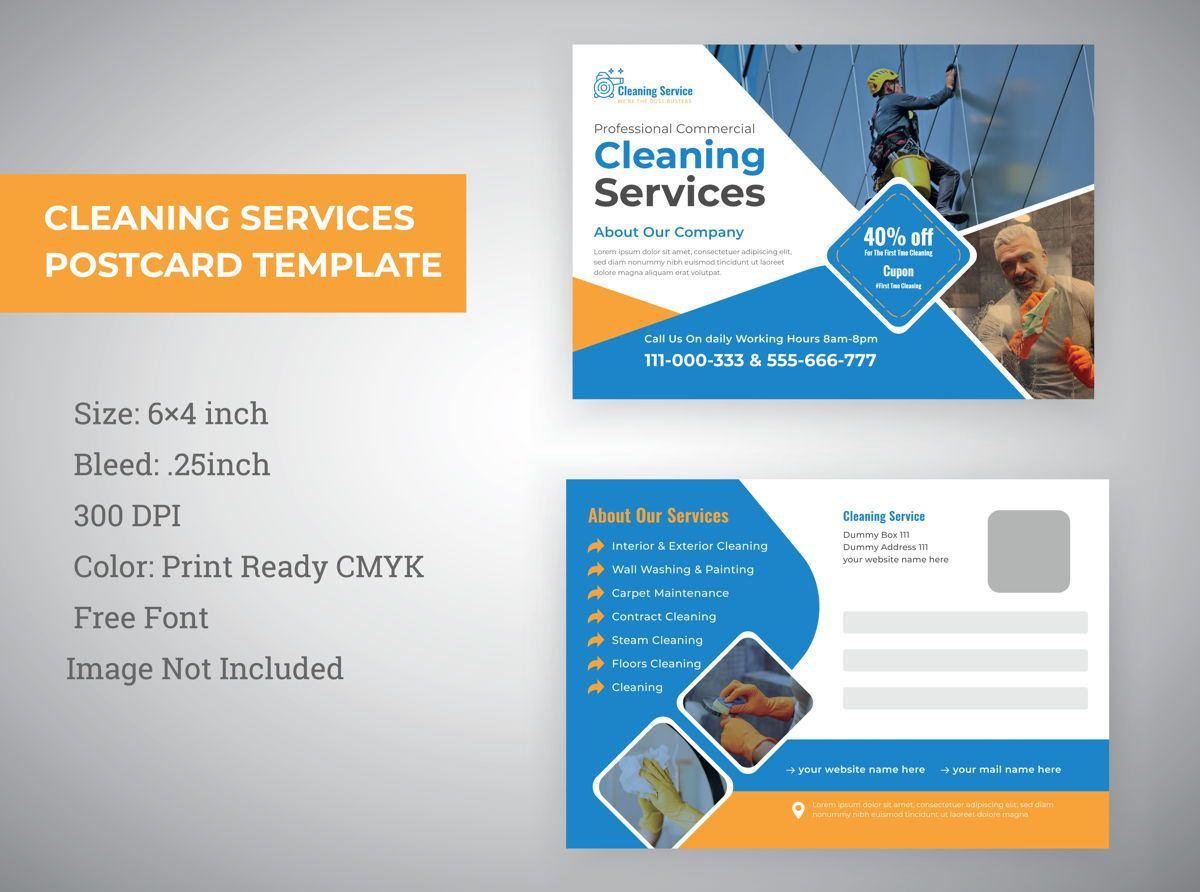 cleaning service Marketing material Design Postcard Template, 08819, Abstrakt/Texturen — PoweredTemplate.com
