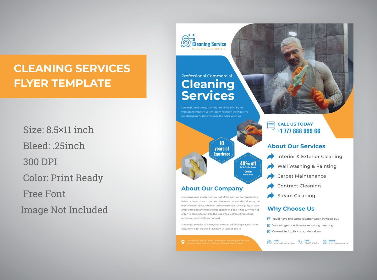 cleaning service Marketing material Design flyer Template, 08820, Abstract/Textures — PoweredTemplate.com