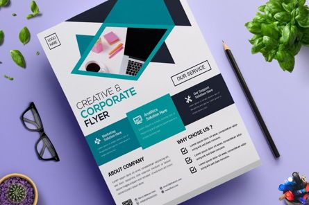 Business: 2 Color Corporate Business Flyer Template #08822