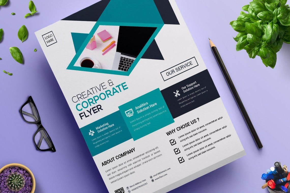 2 Color Corporate Business Flyer Template, 08822, Business — PoweredTemplate.com