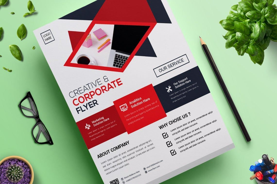 2 Color Corporate Business Flyer Template, Slide 2, 08822, Business — PoweredTemplate.com