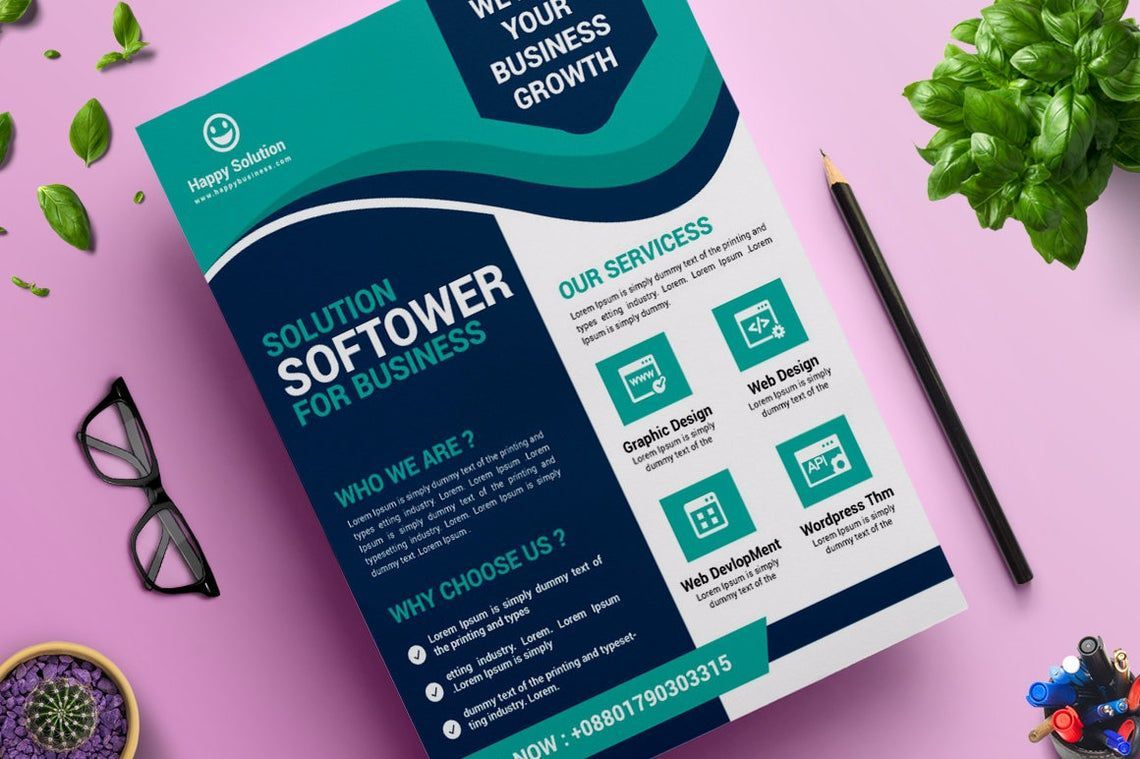 Corporate Business Flyer Design Template Vol 11, 08823, Business — PoweredTemplate.com
