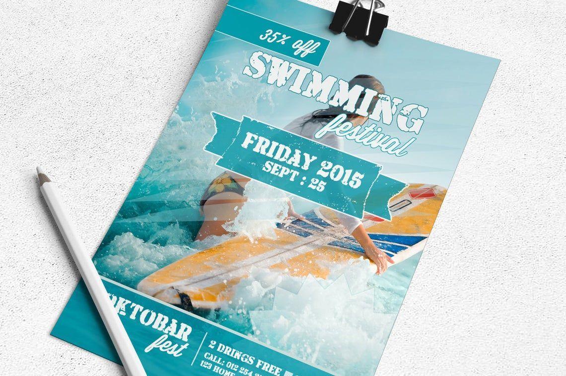 Swimming Festival Flyer Template, 08829, Art & Entertainment — PoweredTemplate.com