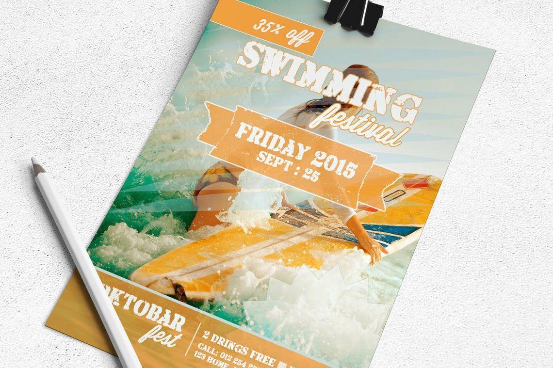 Swimming Festival Flyer Template, Slide 2, 08829, Art & Entertainment — PoweredTemplate.com