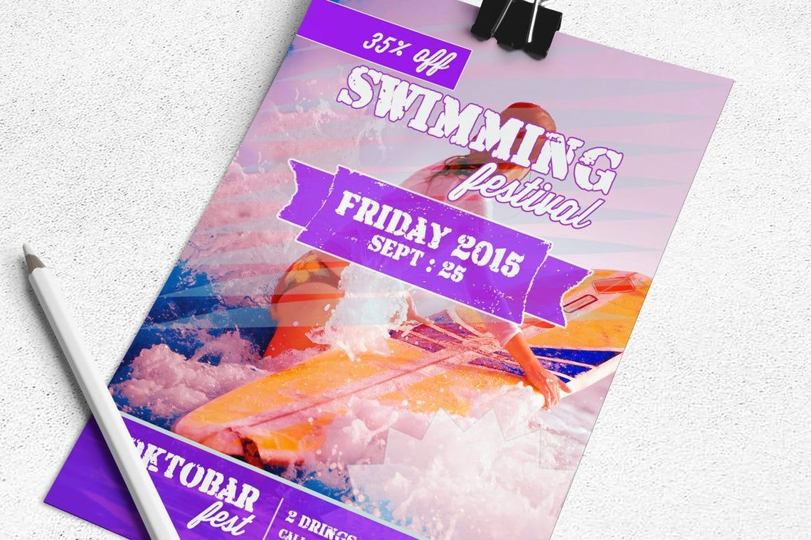 Swimming Festival Flyer Template, Slide 3, 08829, Art & Entertainment — PoweredTemplate.com