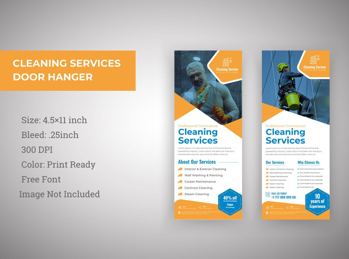 Cleaning Service Marketing Materials Door Hanger, 08831, Abstrato/Texturas — PoweredTemplate.com
