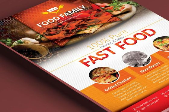 Food & Beverage: Food Family - Fast Food Restaurant Flyer and Poster Design Template #08839