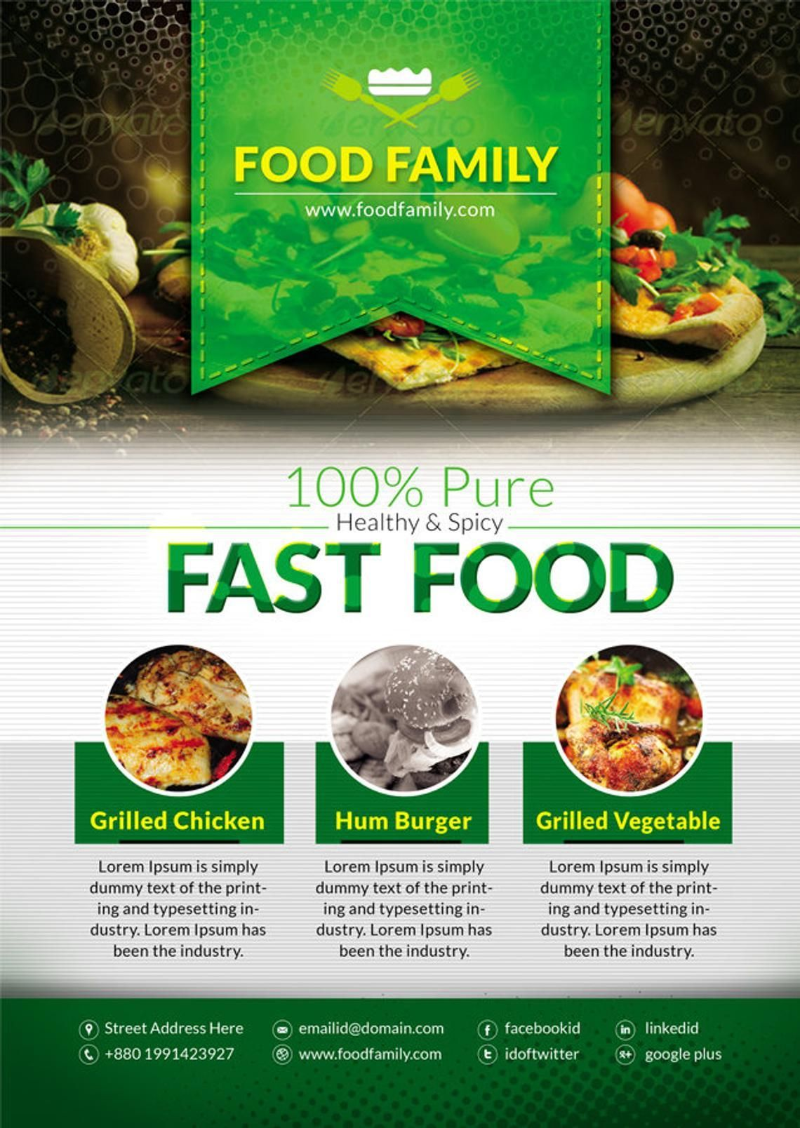 Food Family - Fast Food Restaurant Flyer and Poster Design Template, Slide 3, 08839, Food & Beverage — PoweredTemplate.com