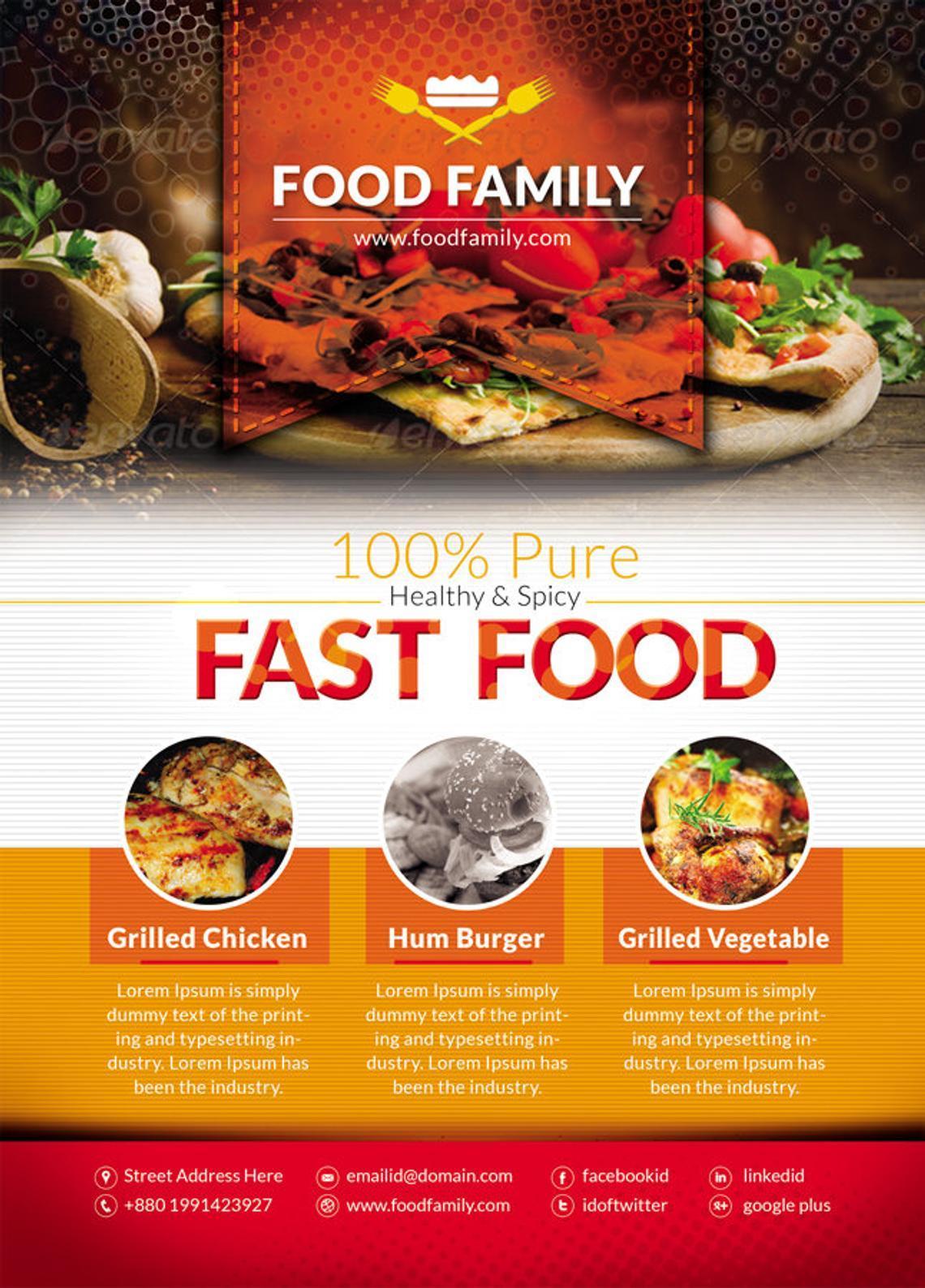 Food Family - Fast Food Restaurant Flyer and Poster Design Template, Slide 4, 08839, Food & Beverage — PoweredTemplate.com