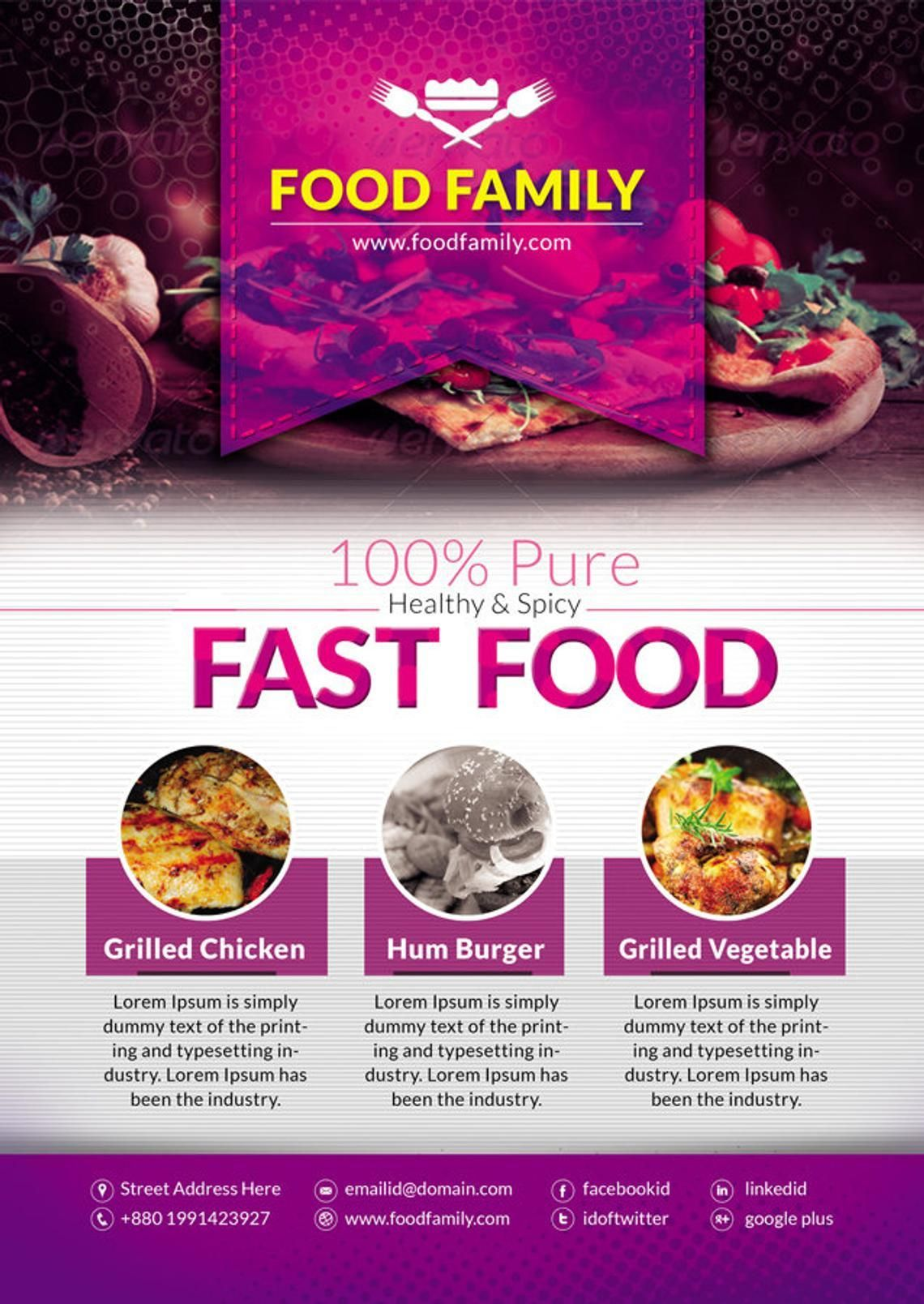 Food Family - Fast Food Restaurant Flyer and Poster Design Template, Slide 5, 08839, Food & Beverage — PoweredTemplate.com