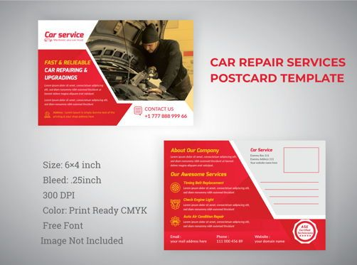 3D: Car Repair Service Marketing Material Design - Postcard #08840
