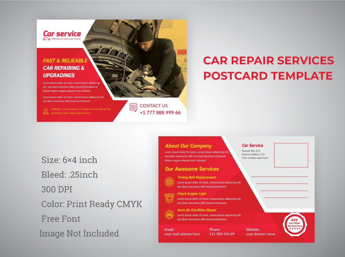 Car Repair Service Marketing Material Design - Postcard, 08840, 3D — PoweredTemplate.com