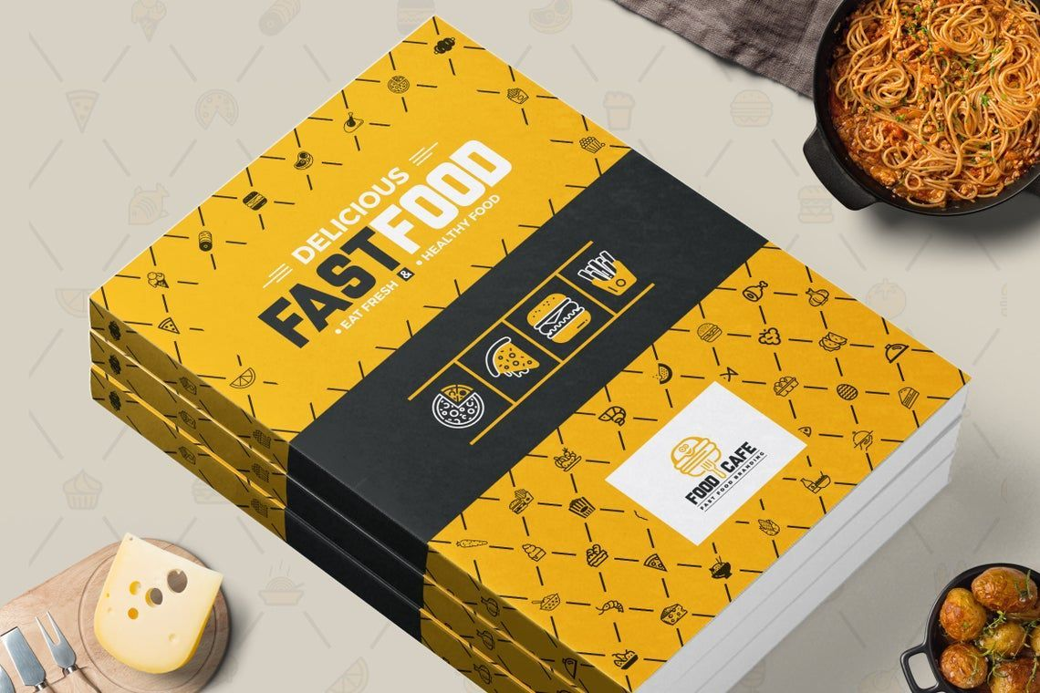 Fast Food Restaurant Cook Book Template Bi-Fold InDesign Brochure, 08841, Food & Beverage — PoweredTemplate.com