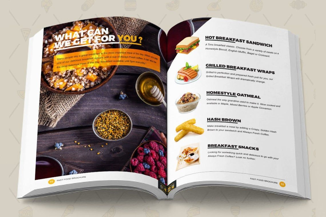 Fast Food Restaurant Cook Book Template Bi-Fold InDesign Brochure, Slide 3, 08841, Food & Beverage — PoweredTemplate.com