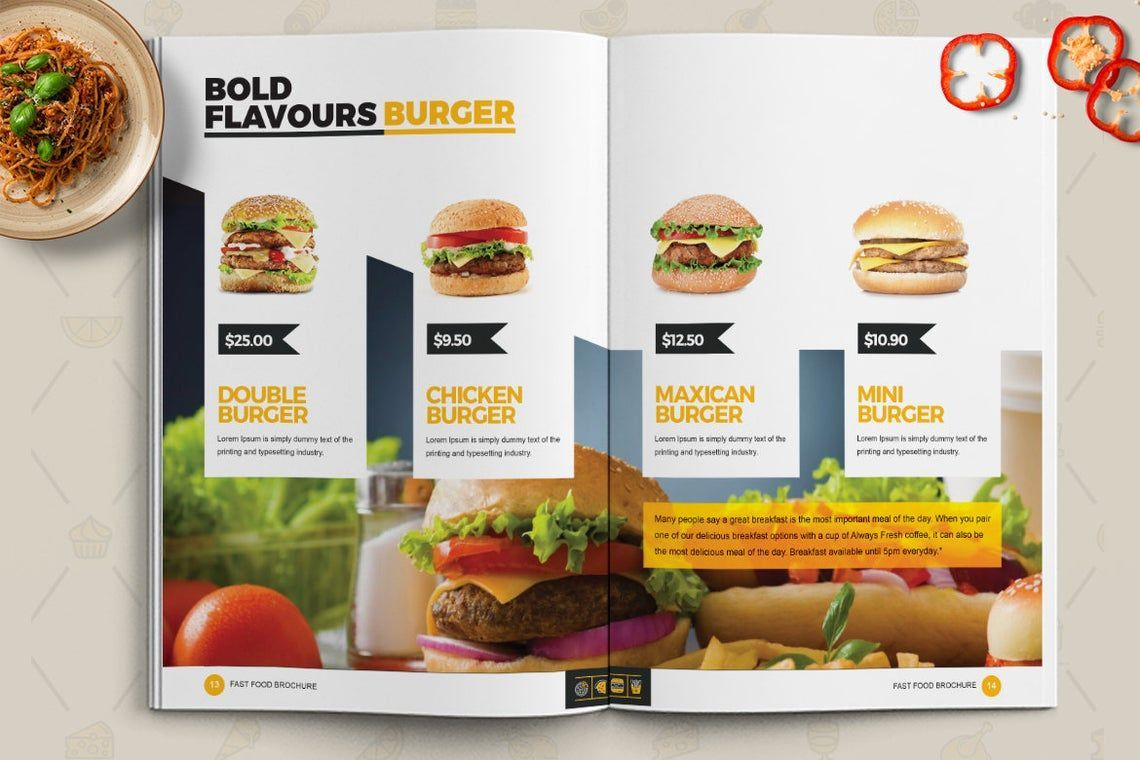 Fast Food Restaurant Cook Book Template Bi-Fold InDesign Brochure, Slide 7, 08841, Food & Beverage — PoweredTemplate.com