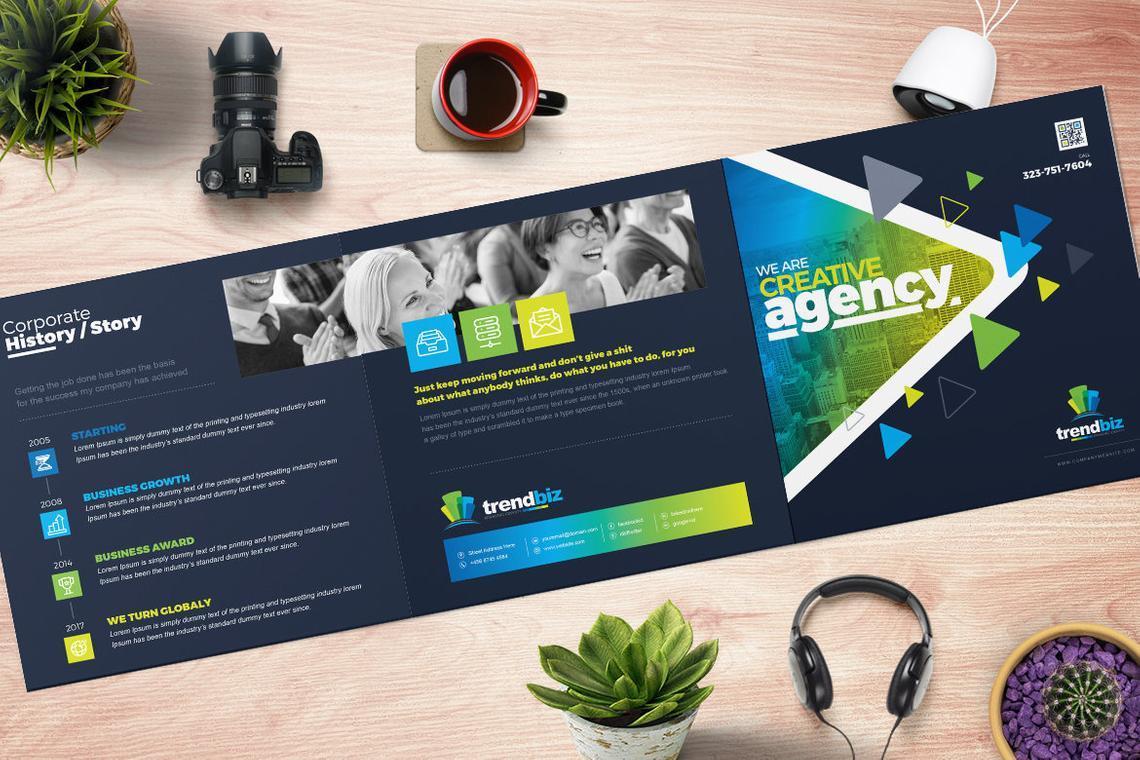 TrendBiz - Corporate Business Square and Tall Tri-Fold Brochure Design Template, Slide 2, 08843, Business — PoweredTemplate.com